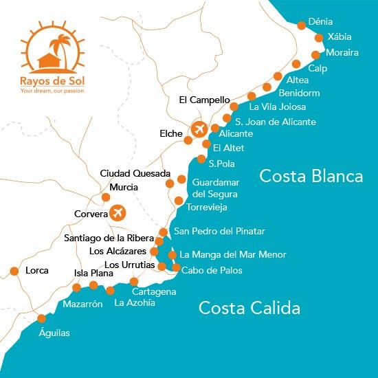 Costa Calida en Costa Blanca locatie