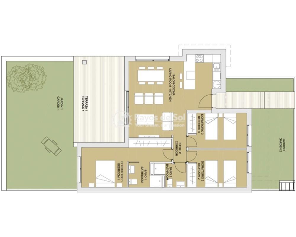 Ground Floor Apartment  in Pilar de la Horadada, Costa Blanca (azurerg-gf-3d) - 8