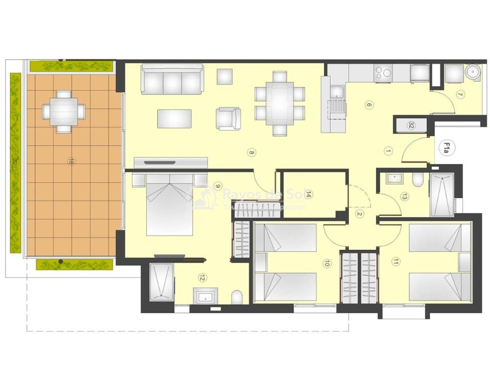Apartment  in Playa Flamenca, Orihuela Costa, Costa Blanca (flamencav-3d) - 12